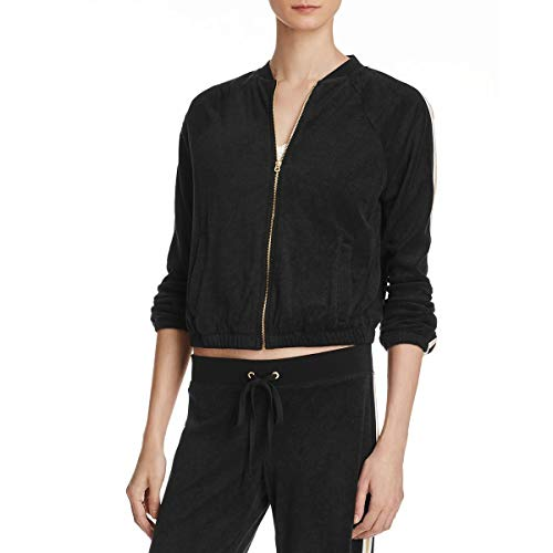 Juicy Couture Black Label Womens Micro-Terry Metallic Fleece Jacket Black XS ()