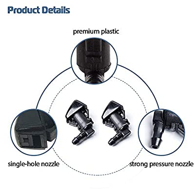 Front Windshielf Washer Nozzle with Hose Kits for 2008-2012 Jeep Liberty 2006-2010 Jeep Commander 2007-2011 Dodge Nitro Spray Replacement 55157319AA, 4806312AA: Automotive
