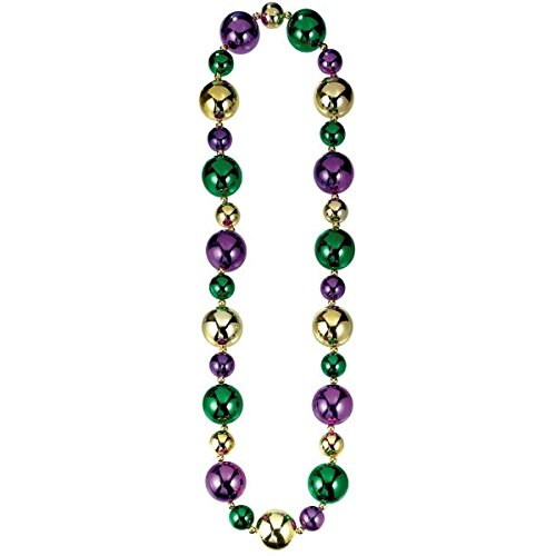 Amscan Big Mardi Gras Beads Necklace Costume Party Accessory (1 Piece), Multi Color, 24 x 6''