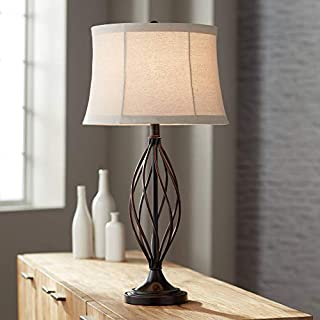 Liam Table Lamp Iron Deep Bronze Open Twist Tan Bell Drum Shade for Living Room Family Bedroom Bedside Nightstand - Franklin Iron Works
