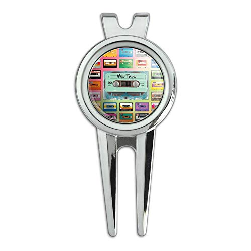 GRAPHICS & MORE Classic Compact Cassette Mix Tapes Collage Golf Divot Repair Tool and Ball Marker ()