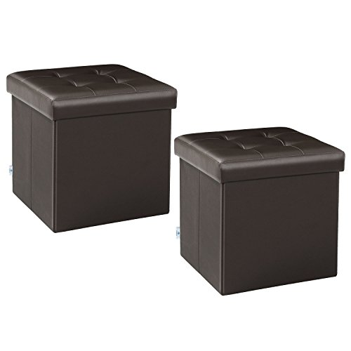 B FSOBEIIALEO Storage Ottoman Small Cube Footrest Stool Seat Faux Leather Toy Chest Brown 12.6