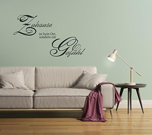 greenluup® wandtattoo Spruch Zitat Zuhause ist kein Ort, sondern ein Gefühl Flur Diele Wohnzimmer ESSZIMMER KEIDERSCHRANK SCHRANK