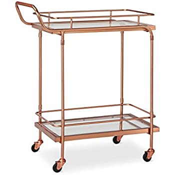 threshold metal glass and leather bar cart rose gold - Rose Gold Bar Cart