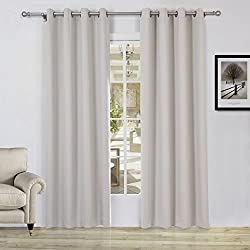 Lullabi Solid Thermal Blackout Window Curtain Drapery, Grommet, 84-inch Length by 54-inch Width, Beige, (Set of 2 Panels)