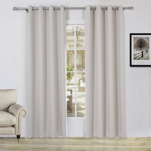 (Lullabi Solid Thermal Blackout Window Curtain Drapery, Grommet, 84-inch Length by 54-inch Width, Beige, (Set of 2)