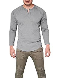 Mens Henley Long Sleeve Shirts Casual Slim Fit Pullover Button Blouse