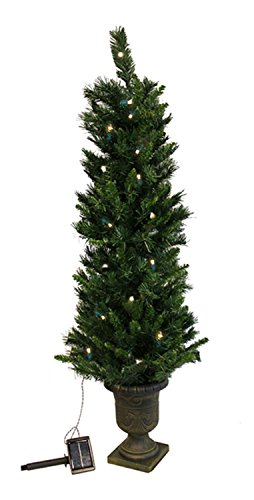 Vickerman Pre-Lit Potted Solar Powered Artificial Christmas Tree with Clear LED Lights, 4' (Pre Lit Potted Christmas Trees)
