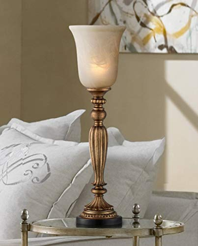 Traditional Uplight Table Lamp Florentine Bronze Fluted Column Alabaster Glass Shade for Living Room Family Bedroom - Regency Hill 60 Watt Traditional Buffet Lamp