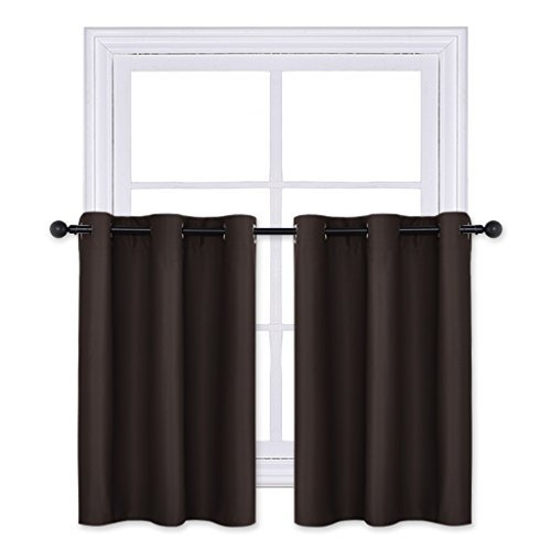 - PONY DANCE Blackout Curtain Panels - Thermal Tier Grommet Top Window Treatments Home Decoration Short Drapes/Valance for Kitchen, 42