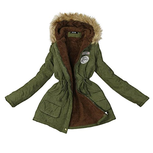 Moonuy Les femmes d'hiver chaud plus pais manteau long confortable Veste  capuchon en col de fourrure Parka Slim Fit poches Manteau d'usure occasionnel de couleur unie arme verte