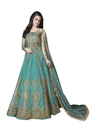 ziya Women's Indian Pakistani Collection with Heavy net Salwar Suit R 10017 (Rama, XL-44)