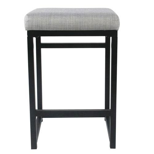Meadow Lane Open Back Metal Counter Stool - Light Gray by