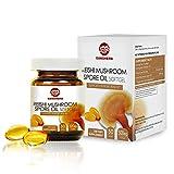 GANOHERB Organic Duanwood Ganoderma Lucidum Reishi Mushroom lingzhi Spore Oil Softgel,Immue System&Liver Support,500mg 30 Vegan Softgels