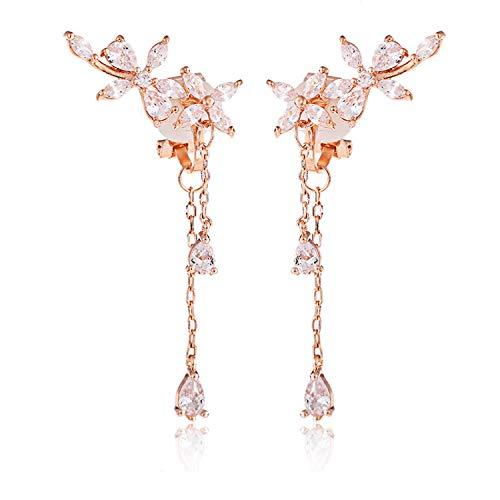 (Clip on Earrings non Pierced Fringe Dangle Tassel Drop Cubic Zirconia Flower Women Girls Rose Gold)
