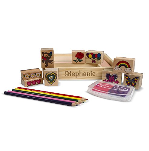 Melissa & Doug Personalized Wooden Friendship Stamp Set Includes 9 Stamps/5 Colored Pencils/2-Color Stamp Pad (Dropship Personalized Gifts)