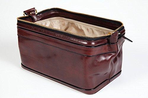 Old leather 10'' Zipper travel utilikit dark brown