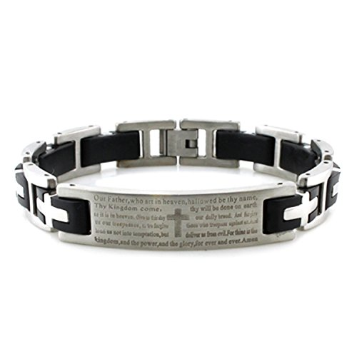 Stainless Steel Lord's Prayer Biker Rubber Inlay Link Bracelet, 8.5 Inches