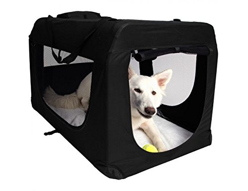 "Paws & Pals Foldable Soft Sided Pet Crate Training Kennel Carrier for Cats and Dogs – 35"" x 24"" x 26"" Inches Black"