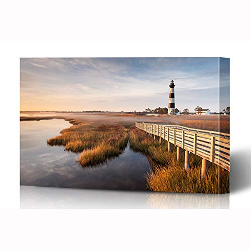 Ahawoso Canvas Prints Wall Art 16x12 Inches Coast North Carolina Outer Banks Bodie Island Nature Parks Lighthouse Hatteras Cape House Wooden Frame Printing Home Living Room Office Bedroom