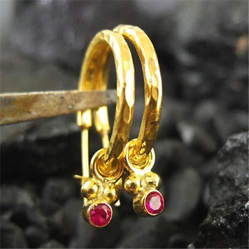 Ancient Design Jewelry Handmade Hammered Designer Ruby Hoop Earring 22K Gold Over Sterling Silver ()