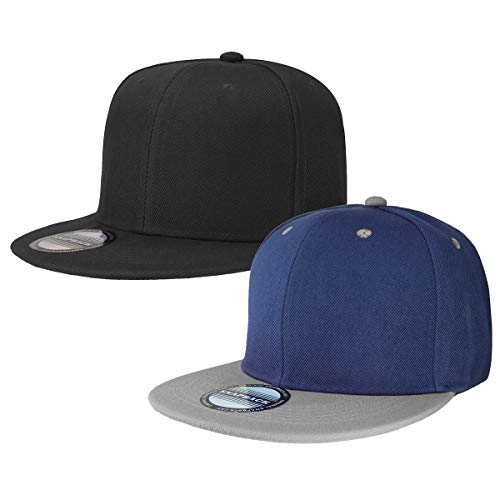 Classic Snapback Hat Cap Hip Hop Style Flat Bill Blank Solid Color Adjustable Size