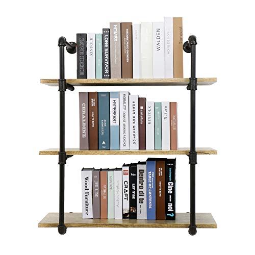 YU YUSING 3 Tier Industrial Pipe Shelf with wood & Metal, Rustic Hanging Wall Shelves for Bedrooms, Bathroom Shelving, Kitchens Coffee Shops or Bar Storage (Shop Shelving Pine)