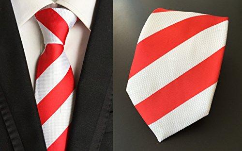 Entreprise De Soie Rayée Fête Des Hommes Mindeng Cravate Personnalisée Taille Rouge Et Blanc