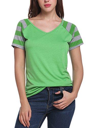 Green Raglan T-shirt Ladies (Meaneor Women's Short Raglan Sleeve V Neck Baseball T-shirt Top Green XL)