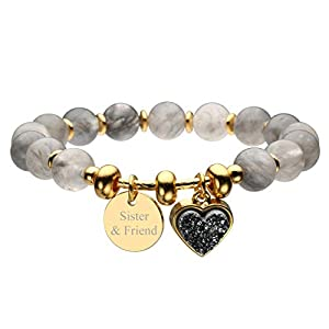 Jovivi Personalized Custom Name Heart-Shape Titanium Coated Druzy Natural Cloudy Quartz Semi Precious Gemstone Round Beads Healing Crystal Bracelet