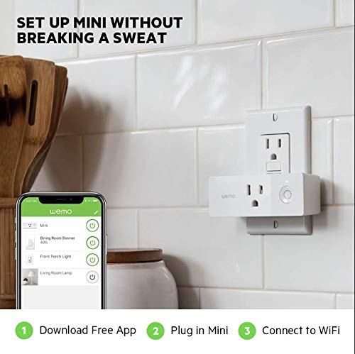 Wemo Mini Smart Plug, Wi-Fi Enabled, Compatible with Alexa (F7C063-RM2) (4 pack) (Renewed) by WeMo (Image #4)