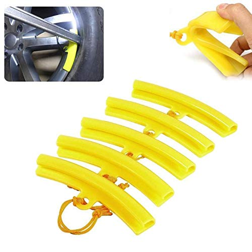DeemoShop 5Pcs Rubber Tire Changer Guard Rim Protector Wheel Changing Rim Edge Savers Tools Yellow Car Wheels Tires Repair Accessories Hot ()