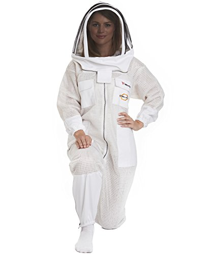 NATURAL APIARY - Zephyros Protect - Ventilated Beekeeping Suit - Total Protection for Professionals and Beginners - Medium - White