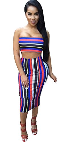 Two Piece Skirt (Kearia Women Off Shoulder Colorful Stripe Two Piece Bodycon Dress Crop Top Midi Skirt Colorful Small)