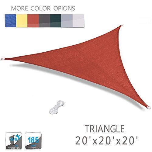 Love Story 20 x 20 x 20 Triangle Terra UV Block Sun Shade Sail Perfect for Outdoor Patio Garden