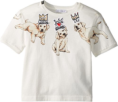 Dolce & Gabbana Kids Baby Girl's Dog T-Shirt (Toddler/Little Kids) White Print 2T Toddler by Dolce & Gabbana