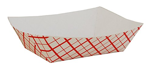 Southern Champion Tray 0409 #50 Southland Paperboard Food Tray, 1/2 lb Capacity, Red Check (Pack of 100)