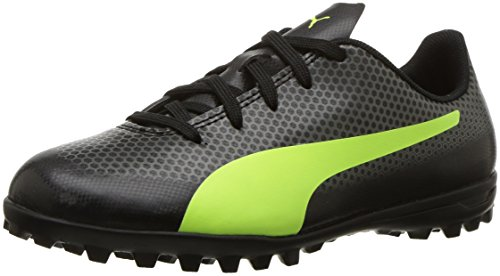 PUMA Unisex-Kids Spirit Turf Trainer Soccer-Shoes, Black-Fizzy Yellow-Castor Gray, 12.5 M US Little Kid (Soccer Shoes Trainers)