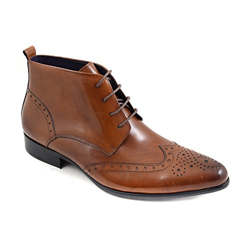 Gucinari Edris Mens Leather Lace-up Pointed Brogue Boots Tan z8zbJ6MVRs