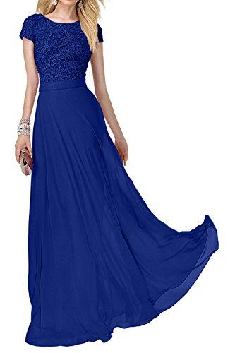 Royal Promkleider Blau Kurzarm Festlich Lang Abendkleider Damen Ballkleider Spitze Rosa Abiballkleider Charmant 6FY1vPW