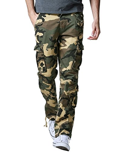 Match Men's Wild Cargo Pants #3357(Khaki camo,34)