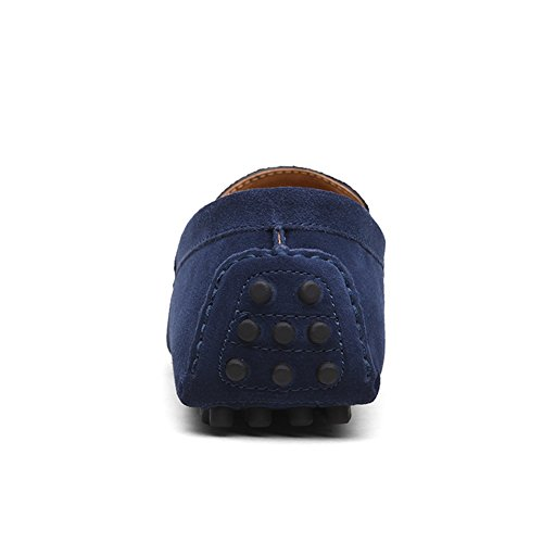 Mocasines on Zapatos de Hombres Mocasín Profundo Barco de Slip Gamuza del Los Conducción YAER Planos de Azul Premium O8qdCw4R8x