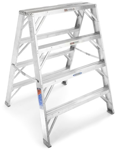 Werner TW374-30 300-Pound Duty Rating Aluminum Twin Stepladder and Portable Work Stand, - Duty Work Stand Heavy Portable