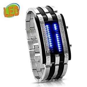 Abco Tech® Trendy Design Long Lasting Shockproof Army Style LED Watch with Alloy Bracelet and 28 Blue LED Lights for Time & Date Display