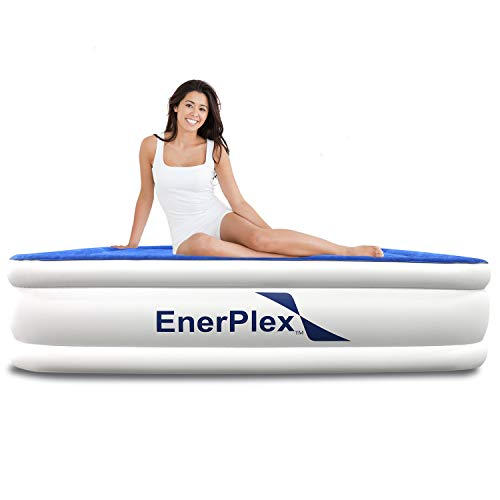 EnerPlex Premium 2019 Dual Pump Luxury Queen Size Air Mattress Airbed with Built in Pump Raised Double High Queen Blow Up Bed for Home Camping Travel 2-Year Warranty (Best Full Size Air Mattress)