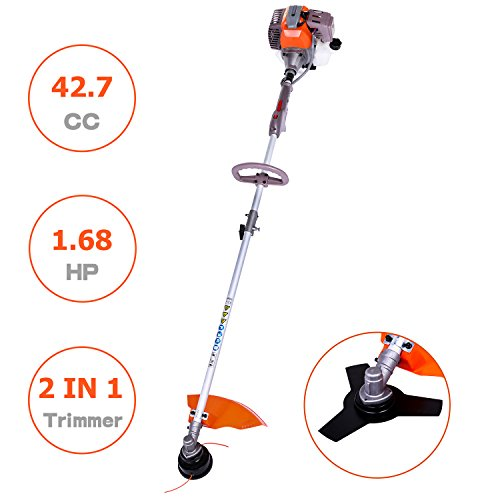 Gas Lawn Trimmer - Meditool MT5076 42.7CC Gas Trimmer, 17-inch Extreme Duty 2-Cycle Dual Line Trimmer and Brush Cutter