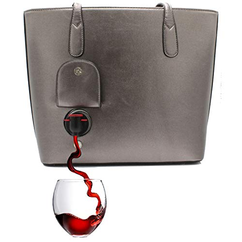 PortoVino Wine Purse (Platinum) - Fashionable purse with Hidden, Insulated Compartment, Holds 2 bottles of Wine!