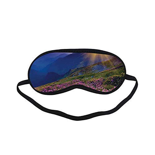 - Nature Fashion Black Printed Sleep Mask,Magical Fairy Horizon with Flowers on The Valley and Mountain Mysterious Photo Deco for Bedroom,7.1