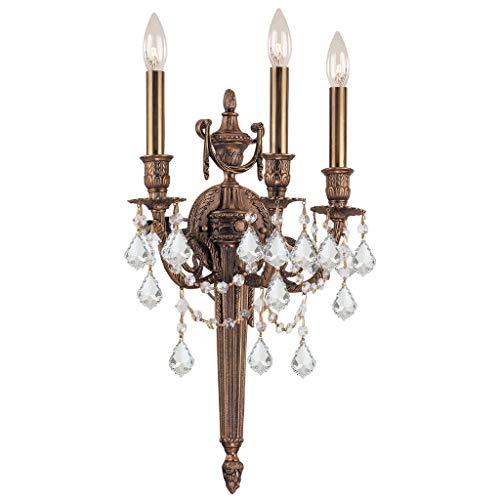 - Crystorama 753-MB-CL-S, Arlington Candle Crystal Wall Sconce Lighting, 3 Light, 180 Watts, Brass