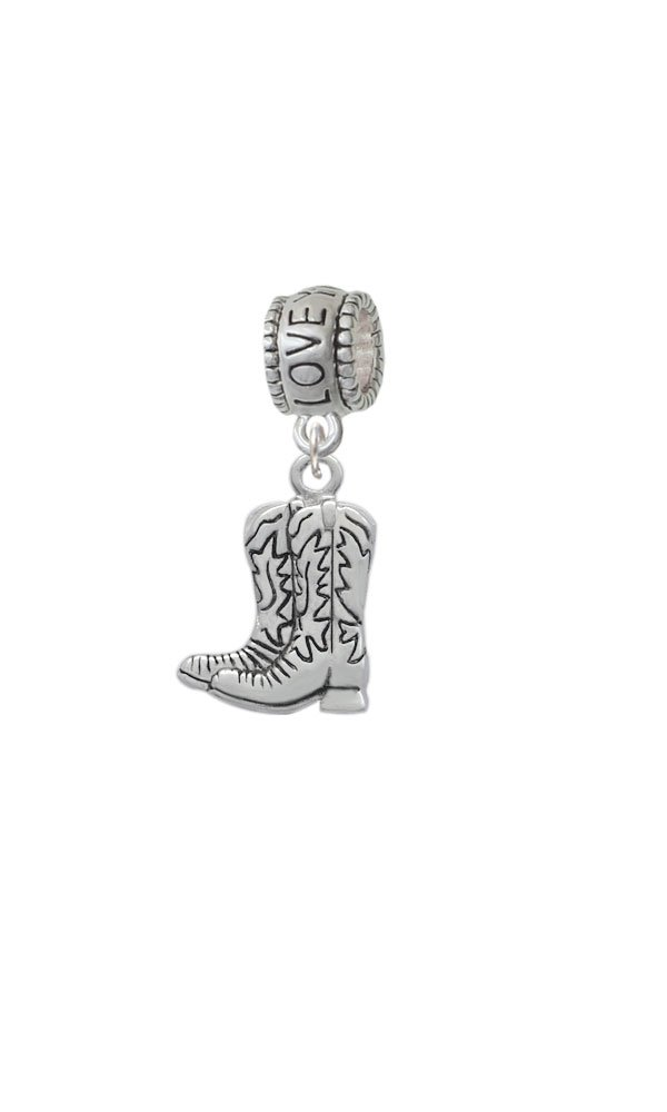 Silvertone Cowboy Boots - Love You More Charm Bead